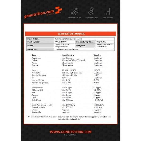 GoNutrition Arginine Alpha Ketoglutarate (AAKG) 250g