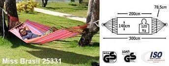 Houpací síť MISS BRASIL - proužky růžové, červené, oranžové a modré