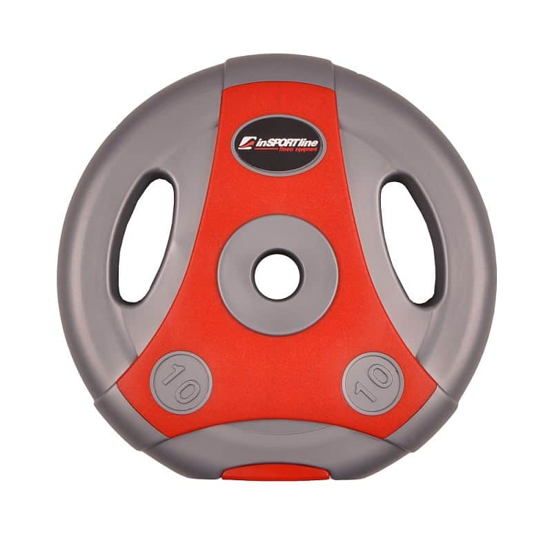 Cementový kotúč inSPORTline Ergo 10 kg šedo-červený