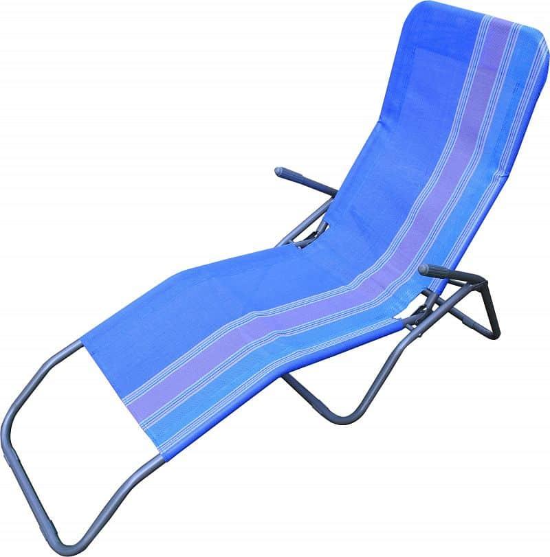 Plážové skládací léhátko RELAX, modré pruhované