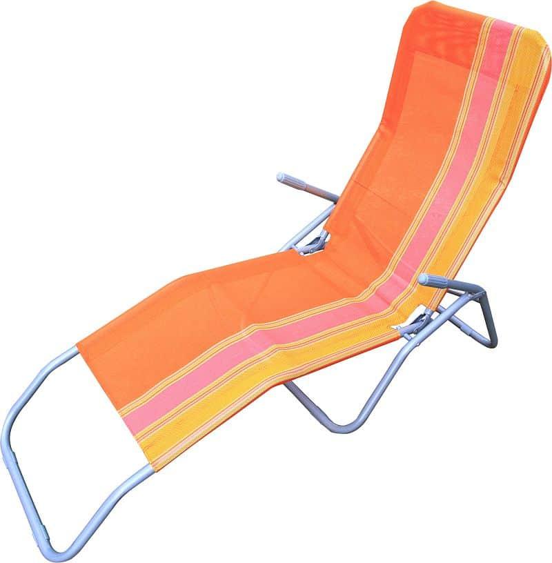 Plážové skládací léhátko RELAX, oranžové pruhované