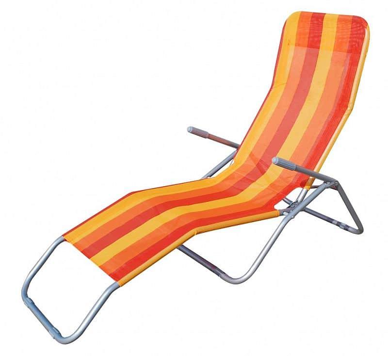Plážové skládací lehátko RELAX, červeno-oranžové pruhované