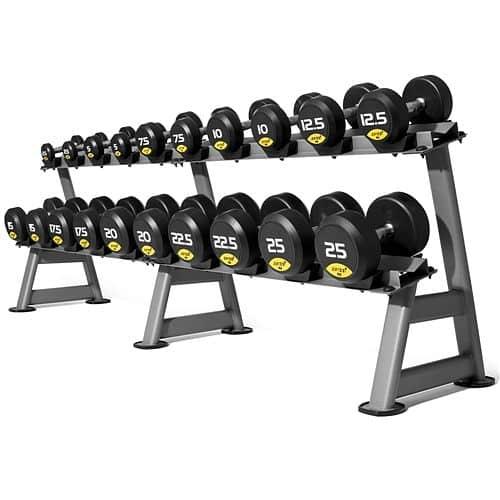 Jednoruční činky JORDAN RUBBER Premium 2,5 - 30 kg (12 párů - stoupání po 2,5 kg)