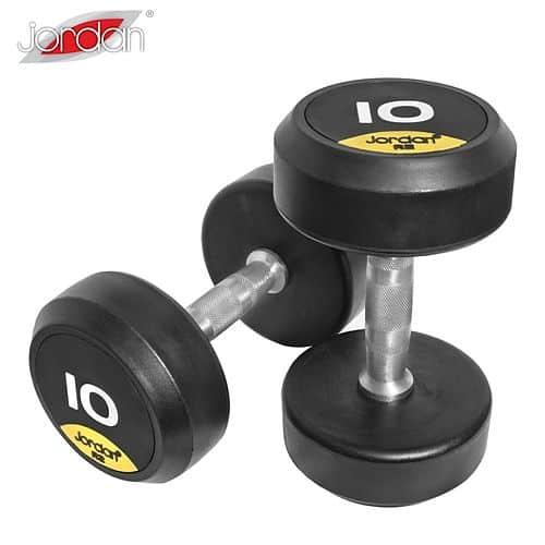 Jednoruční činky JORDAN RUBBER Premium 2 - 20 kg (10 párů - stoupání po 2 kg)