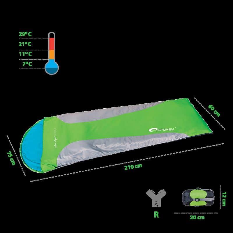 ULTRALIGHT 600 Spací pytel mumie zelený, pravé zapínání