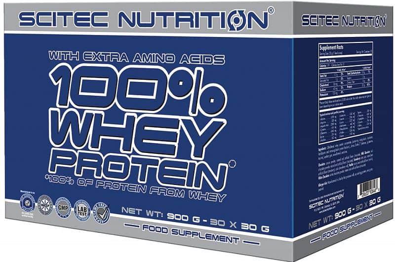Scitec 100% Whey Protein 900 g mix příchutí