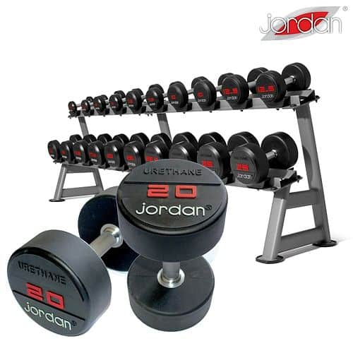 Jednoruční činky pogumované JORDAN URETHANE 2,5 - 50 kg (20 párů - po 2,5 kg) + 2 stojany
