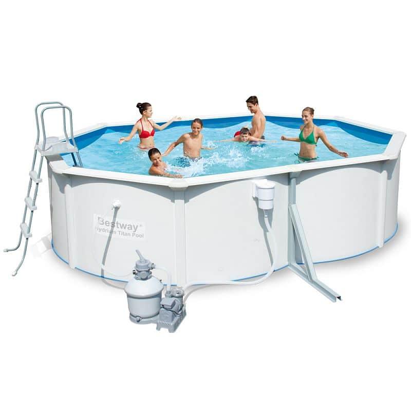 Bazén rodinný s pevnou stěnou Bestway 488 x 366 x 122 cm + písková filtrace a doplňky