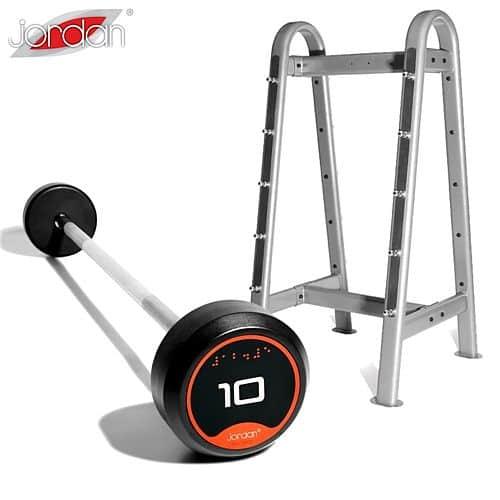 Sada bicepsových činek 10-45 kg (10 činek, stoupání po 5 kg) + stojan