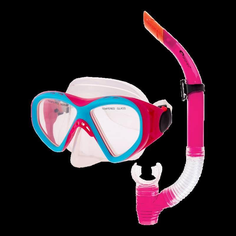 KRAKEN II Sada brýle + šnorchl růžová