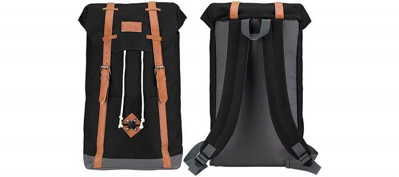 Plátěný batoh ABBEY s koženými popruhy