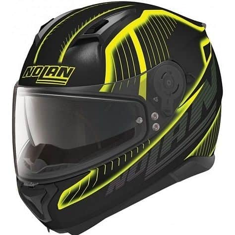 Moto helma Nolan N87 Harp N-Com Flat Black-Yellow