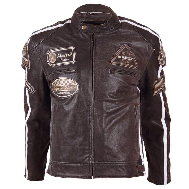 Kožená moto bunda BOS 2058 hnědá