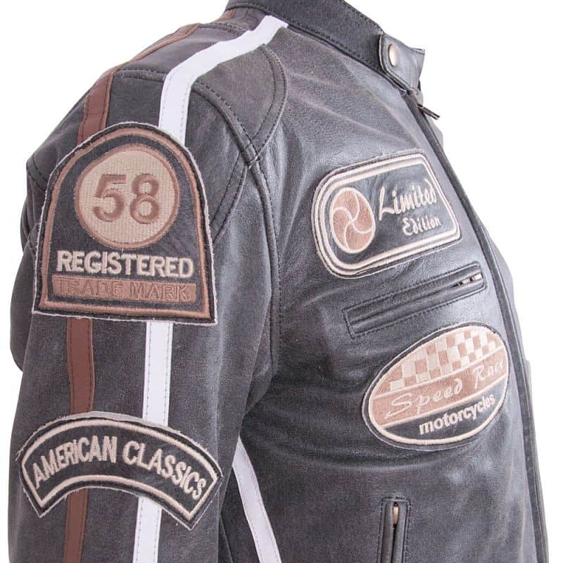 Kožená moto bunda BOS 2058 Maroon