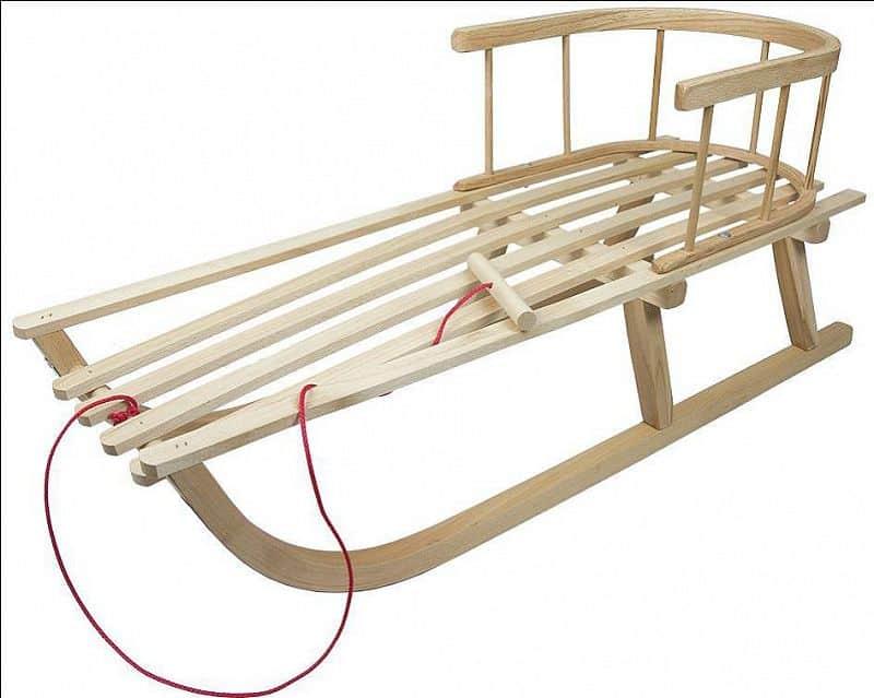 Dětské dřevěné sáně s opěrkou 90 cm - min 2 ks