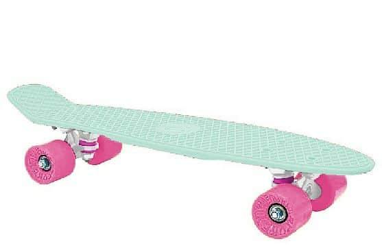 """CRUISER board 22 x 6"""" světlé zelený, růžová kolečka 60x45 mm"""