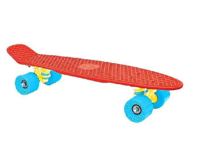 "CRUISER board 22 x 6"" červený, modrá kolečka 60x45 mm"