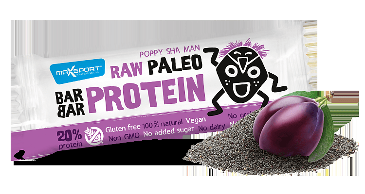 MAX SPORT Paleo Raw Protein BarBar Poppy Sha Man 50g