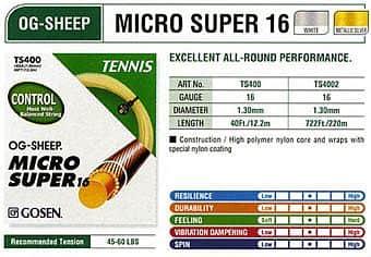 OG Sheep Micro Super 16 tenisový výplet  220m