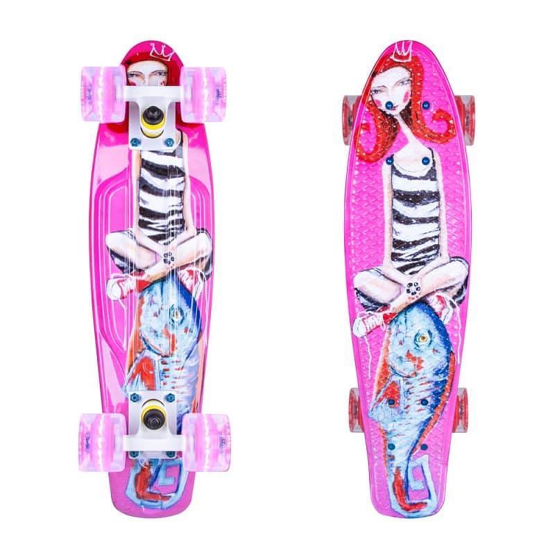 """Penny board ArtFish Girl 22"""" se svítícími kolečky"""