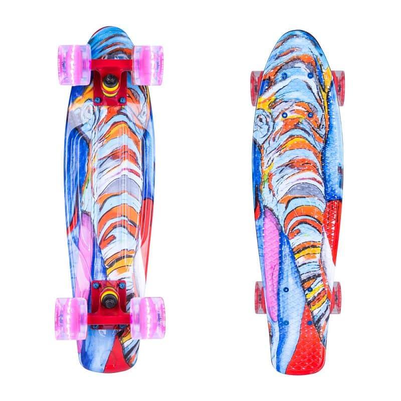 """Penny board ArtFish Elephant 22"""" se svítícími kolečky"""