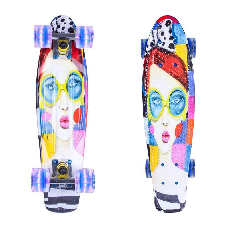 """Penny board ArtFish Face 22"""" se svítícími kolečky"""