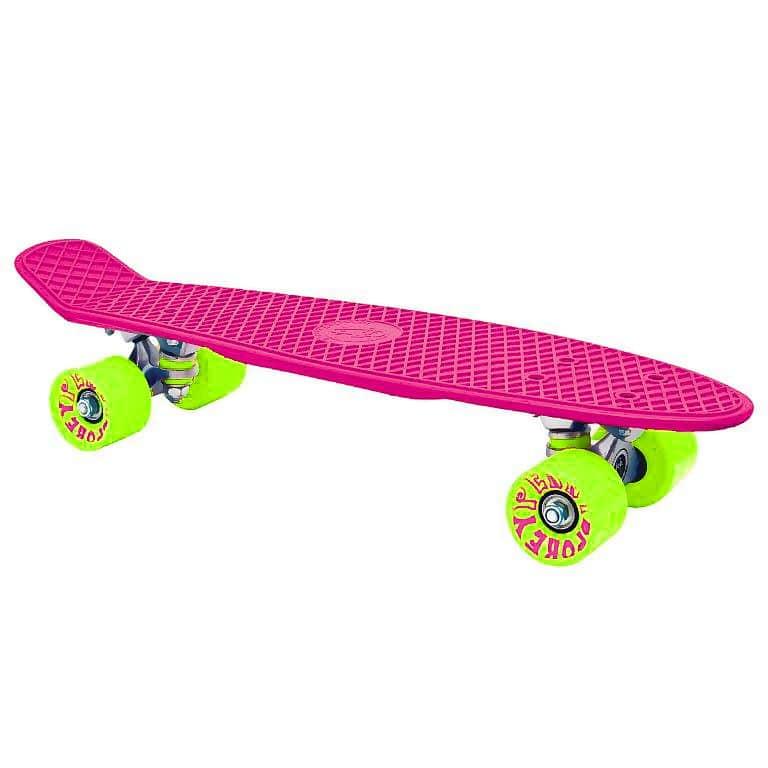 """CRUISER board 22 x 6"""" růžový, zelená kolečka 60x45 mm"""