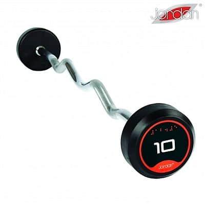 Bicepsová pogumovaná činka zalomená JORDAN 20 kg