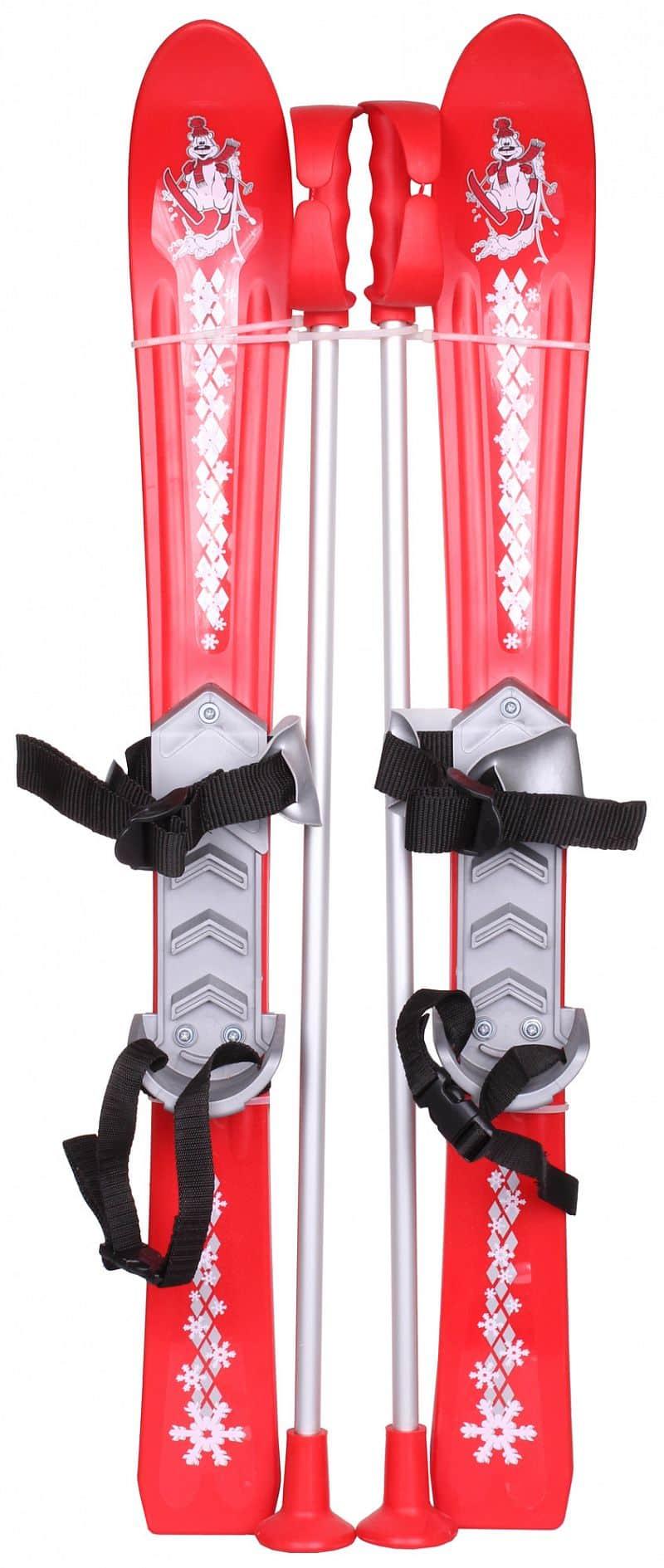 dětské mini lyže Baby Ski 90 cm plastové, s hůlkami barva: červená