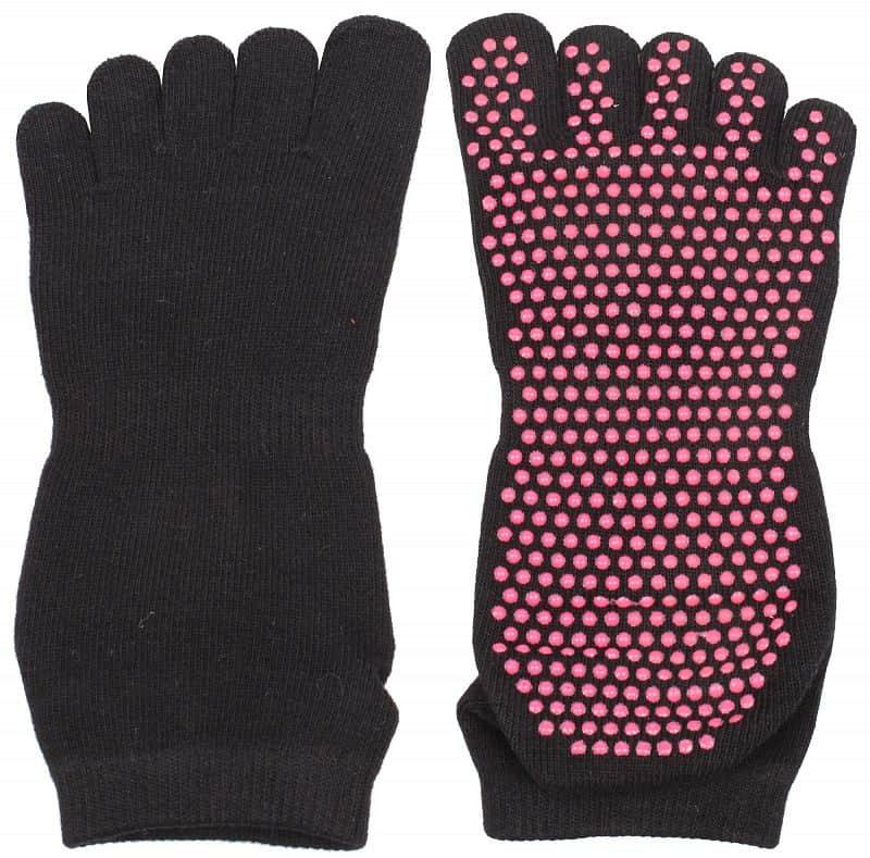ponožky Yoga, Piloxing, Pilates prstové, unisex barva: černá;balení: 1 pár