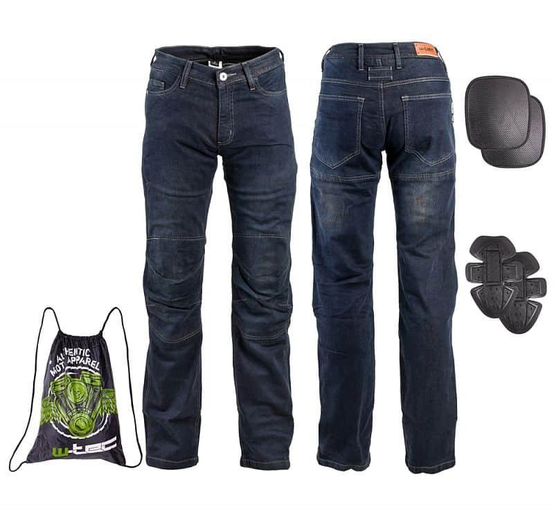 Pánské moto jeansy W-TEC Pawted Barva tmavě modrá, Velikost L