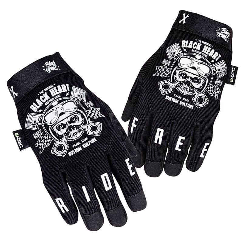 Levně Moto rukavice W-TEC Black Heart Piston Skull Barva černá, Velikost M
