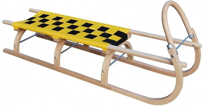 Dřevěné saně SULOV 67, 125cm, žluto-černé
