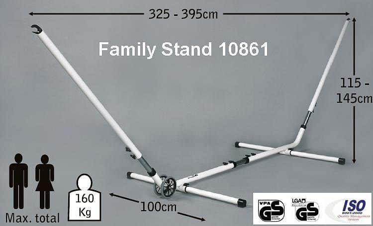 Jobek Kovový stojan na houpací síť FAMILY STAND - nastavitelná délka a výška Bílý