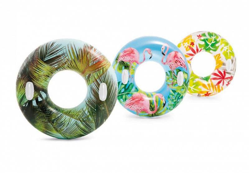 Kruh plavecký S DRŽADLY Intex 58263 - Bílá - Listí