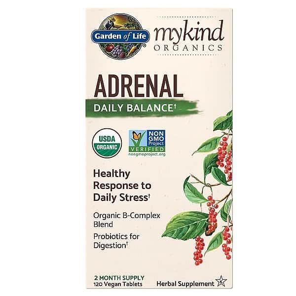 Garden of Life Mykind Organics Adrenal Daily Balance - pro podporu rovnováhy nadledvin 120 tablet