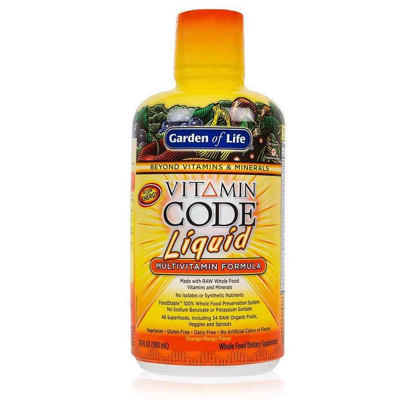 Garden of Life Vitamin Code tekutý multivitamín pomeranč a mango 900 ml