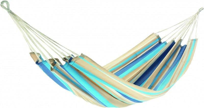Houpací síť JOIA - proužky modré, světlemodré, hnědé a béžové