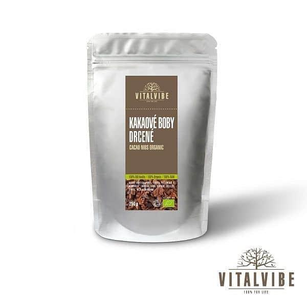 Drcené kakaové boby BIO - 250 gramů